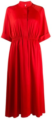 Mulberry Mandarin Collar Drawstring Dress