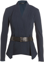 Donna Karan New York Linen Jersey Blazer with Leather Belt