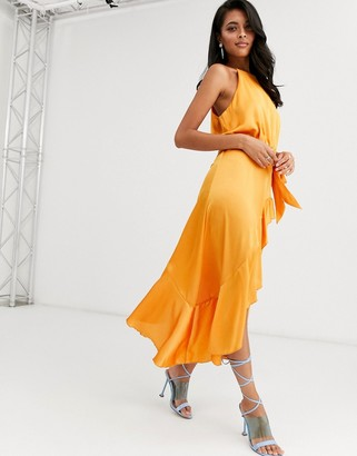 Forever U Collection halter neck wrap tie ruffle dress in orange