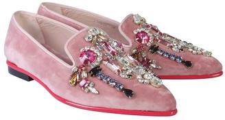 Alexander McQueen Pink Velvet Crystals Loafer Shoes