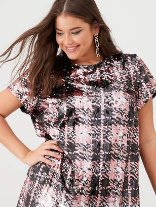 V By Very Curve Sequin Check Tunic - Multi