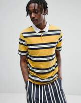 Asos Relaxed Rugby Polo Shirt In Yellow Retro Stripe