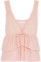 See by Chloe Tiered Stretch-knit Top - Pastel pink
