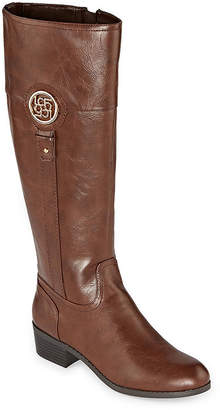 Liz Claiborne Womens Tilia Wide Calf Riding Boots Stacked Heel