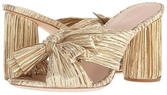 Loeffler Randall Penny Pleated Knot Mule (Gold Pleated Lame) Women's Shoes