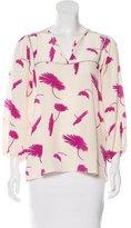 Tucker Floral Print Silk Top