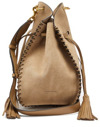 Isabel Marant Taj Fringed Suede Cross-body Bag - Beige
