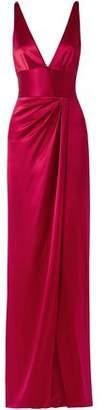 Naeem Khan Wrap-effect Silk-satin Gown