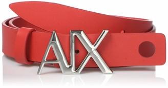 Ax Armani Exchange A|X Armani Exchange Women's AX Logo Buckle Split Leather Belt