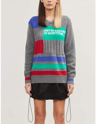 Benetton Graphic-intarsia wool-blend jumper
