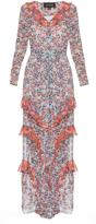 Saloni Izzie floral-print silk-georgette dress