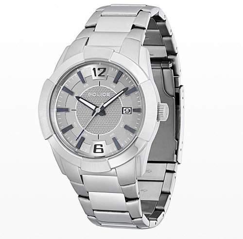 Police Men's PL-12547JS/61MA Sincere Stainless Steel Grey Dial Date Bracelet Watch