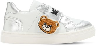 Moschino Teddy Bear Leather Strap Sneakers