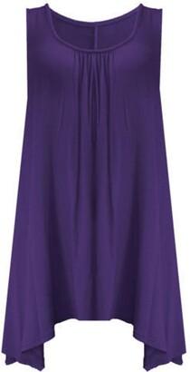 Zet New Ladies Women Loose Fit Ruched Hanky Hem Plain Jersey Tunic Blouse Sleeveless Flared Vest Swing Top Plus Sizes UK 8-26 (M-L (12-14 UK)