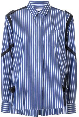 Sacai Strap-Embellished Striped Poplin Shirt