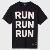 Paul Smith Men's Black 'Run' Print Organic-Cotton T-Shirt