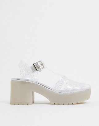 ASOS DESIGN Sissi heeled fisherman jelly sandals in clear glitter