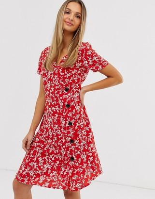 Vila floral asymmetric button dress