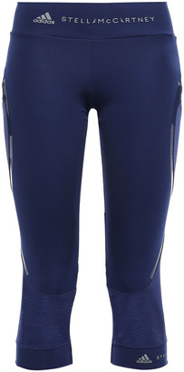 adidas by Stella McCartney + Adidas Cropped Mesh-paneled Printed Stretch Leggings