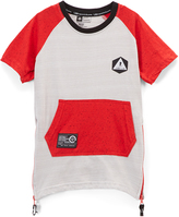 Lrg Red & White Pocket-Front Raglan Tee - Boys
