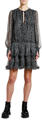 Stella McCartney Metallic-Dotted Tie-Neck Boho Dress