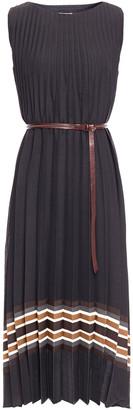 Brunello Cucinelli Belted Striped Woven Midi Dress