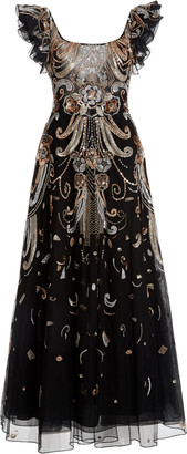 ZUHAIR MURAD Baker Sequined Chiffon Maxi Dress