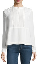 Vince Camuto Crewneck Pintucked Ladder-Stitched Blouse, Ivory