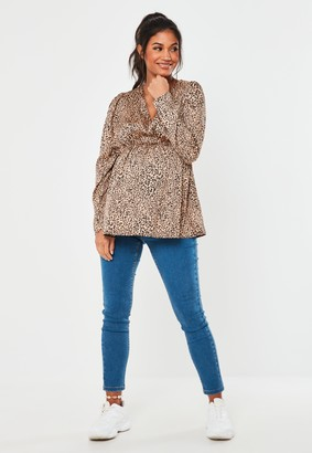 Missguided Tan Leopard Print Maternity Blouse