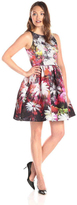 Adrianna Papell 41912000 Printed Bateau Cocktail Dress\