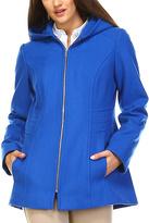 London Fog River Blue Hooded Wool-Blend Zip-Up Jacket - Petite Too