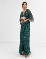 Maya Bridesmaid delicate sequin wrap maxi dress in green