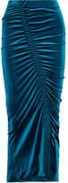 Preen by Thornton Bregazzi Sophie Gathered Stretch-velvet Midi Skirt