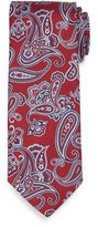 Brioni Textured Paisley-Print Silk Tie, Red