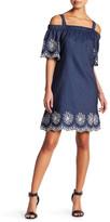 Sandra Darren Off-the-Shoulder Denim Dress (Petite)