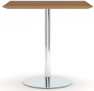 """Allermuir 30"""" Square Classic High Table on Pedestal Base Allermuir Top Finish: River Cherry, Base Finish: Polished Chrome"""