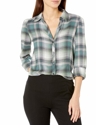 Vince Camuto Women's Rayon Checked Plaid Blouse