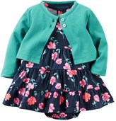 Carter's Baby Girls' 2 Piece Floral Dress Set Green/ Flowers-12M