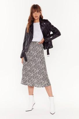 Nasty Gal Womens Think Long and Leopard Midi Skirt - black - 10