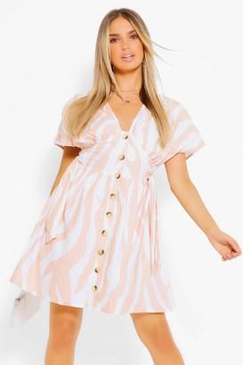 boohoo Stripe Button Through Skater Dress
