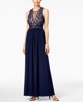 Night Way Nightway Nightway Petite Lace-Illusion A-Line Gown