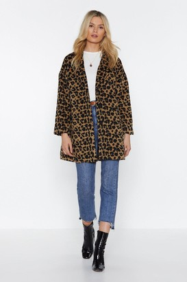 Nasty Gal Womens This Ones Fur You Leopard Coat - Camel