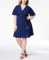 Monteau Trendy Plus Size Striped Faux-Wrap Dress