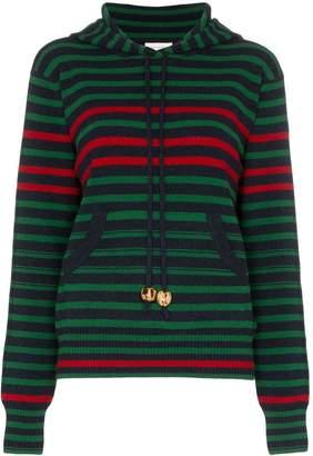 Wales Bonner striped drawstring hoodie