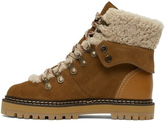 See by Chloe Tan Shearling Eileen Ankle Boots