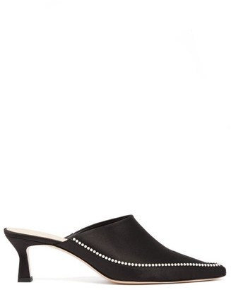 Wandler Bente Pearl-embellished Point-toe Satin Mules - Black