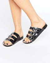 London Rebel Multi Buckle Jelly Sliders