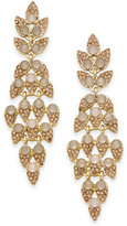 INC International Concepts Gold-Tone Pink Stone & Pave Leaf Linear Drop Earrings, Created for Macy's