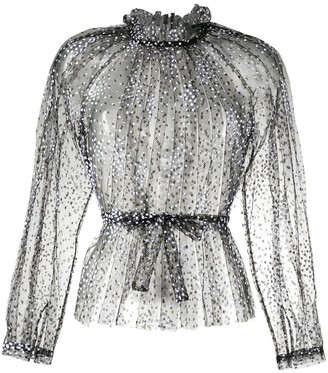 Rachel Comey Sheer Dotted Print Blouse