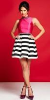 Mac Duggal Horizontal Stripe Embellished Cocktail Dress